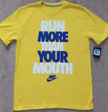 """New Nike """"Run More Than Your Mouth"""" Short Sleeve T-Shirt Tee Gold/Blue/White"""