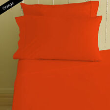 ORANGE SOLID HOTEL BEDDING ITEMS 1000TC SOFT EGYPTIAN COTTON USA SIZES