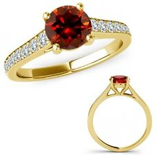 2 Carat Red Diamond Fancy Beautiful Solitaire Victorian Ring 14K Yellow Gold