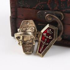Locket Punk Open Box Coffin Jesus Vampire Casket Ring Enamel Crown Bat Cross