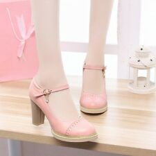 Womens Leather High Block Heels Platforms Mary Janes Round Toe Pumps Shoes