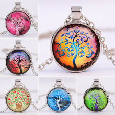 Vintage Tree Photo Cabochon Glass Tibet Silver Chain Pendant Necklace