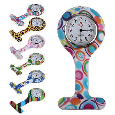 Patterned Silicone Nurses Brooch Tunic Fob Pocket Watch Stainless Dial Handy