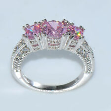 7mm Pink Sapphire Band Women 10Kt White Gold Filled Wedding Party Ring Size 6-12