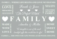 personalised Family Home Grey Word Quotes Canvas Print mrs mrs  picture a4 size