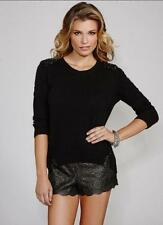 NEW WOMENS GUESS DIVINE BLACK EMBELLISHED BEADED JEWELED KNIT SWEATER TOP XS M L