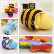 Cute Dog Puppy Pet Chew Play Toy Squeaky Sound Plush Toys Slipper Bone Toy S M L