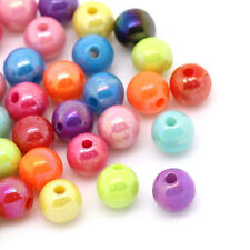 """Wholesale Lots Mixed AB Color Round Acrylic Spacer Beads 6mm(2/8"""") Dia"""