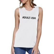 Adult-ish Womens White Muscle Top Letter Printed Sleeveless Top
