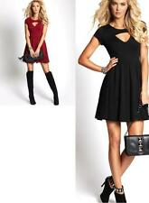NEW WOMENS GUESS FIT AND FLARE CUTOUT SHORT SLEEVE BLACK RED DRESS LBD
