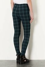Topshop Black Watch Green Tartan Leggings