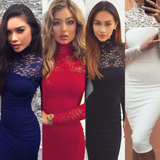 Women Sexy Long Sleeve Lace Stitching Dress Bodycon Clubwear Evening Mini Dress