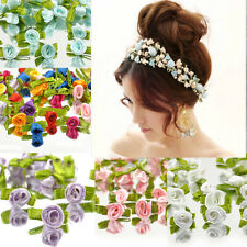 100PCS Ribbon Satin Rose Flower Decor Bow Appliques Craft Sewing beauty Leaves