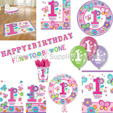 Sweet Girls 1st Birthday Party Supplies - Plates, cups, napkins etc - Free P&P