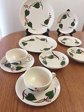 VINTAGE BLUE RIDGE IVY SOUTHERN POTTERY DINNERWARE:PLATES, BOWLS, CUPS~10 PC