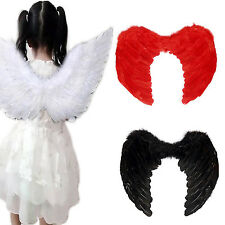 R Adults Kids Feather Wings Angel Fairy Fancy Costume Halloween Party Dress