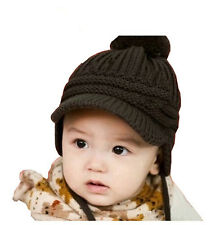 Knitted Baby Kids Hat Peaked Cap Crochet Children Earflap Soft Ball Knit Cap VV