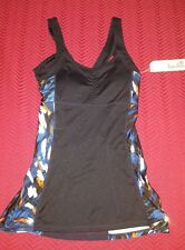NWT $48 Women's Kyodan Black & Blue Print Ruched Athletic Tank Top W/Shelf Bra