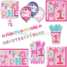 """One"" Wild Girl 1st Birthday Party Pack for 8 - Plates Cups Napkins plus more"