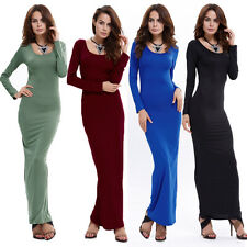 Women Sexy Long Sleeve Bodycon Long Dress Casual Evening Party Cocktail Clubwear