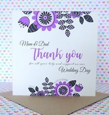 Personalised Handmade Wedding Mum and Dad Thank You Card