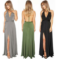 Women Sexy V-neck Slip Dress Bandage Backless Cocktail Evening Party Prom Dress