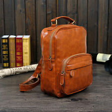 2017 Fashion Outdoor Boy PU Leather Backpack School Travel Laptop Rucksack Bag