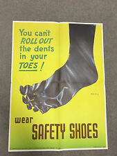 Rare 1940s 1950s INDUSTRIAL SAFETY Factory Posters Safety Shoes Dented Feet AMC