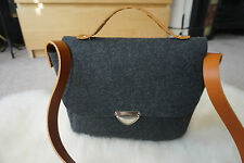 New Hand Made Charcoal Grey Felt Real Leather Strap City Shoulder Office Bag