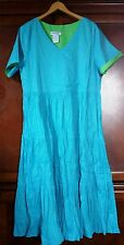 NWT Women's Reversible Cotton Dress Blue or green Full broomstick skirt Paragon