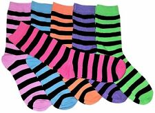 6-12 Pairs Womens Striped Socks 80% Cotton Crew Ladies Assorted Colors Size 9-11