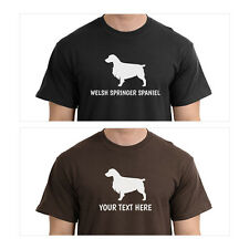Welsh Springer Spaniel Dog Silhouette T-Shirt, Men Women Youth Long Personalized