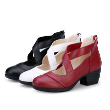 Comfort Synthetic Leather Block Med Heel Square Dance Lady Shoes AU Sizes s3025