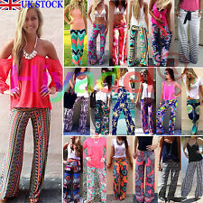 Sexy Women Causal Loose Stretchy High Waist Wide Leg Long Pants Palazzo Trousers