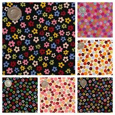 Small Funky Daisy Flowers Fabric 100% Cotton Material.