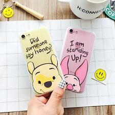 For iPhone 7 7 Plus 6 6S 5 SE Cartoon Bear and Pig Matte Plastic TPU Case Cover