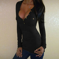 Sexy Women Fashion Casual V-Neck Long Sleeve T-Shirt Blouse Bodycon Tops Blouse
