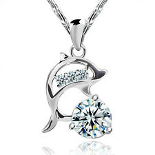 FASHIONS FOREVER® 925 Sterling Silver Dolphin AAA-Zirconia Necklace-Pendant