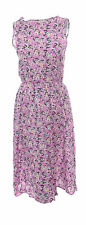 Ladies New Pink Lilac Ditsy Floral Print Cotton Dress Size 6 - 16 *LICK*