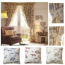 """Botanical Printed 3"""" Tape Lined Curtains - FREE PAIR OF CUSHIONS - 3 Colours"""