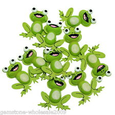 Wholesale Lots Craft Wooden Embellishments Green Charm Frog Necklace 38x33mm