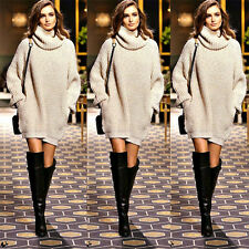 Womens High Neck Knitted Sweater Long Sleeve Top Pullover Jumper Winter Dresses