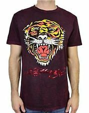 NEW ED HARDY EH TIGER MENS SHORT SLEEVE CREW NECK T-SHIRT BURGUNDY MINERAL TEE