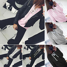 Fashion Women Long Sleeve Hoodies Lace Up Pullover Jumper Tops Plain Sweatshirt