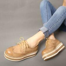 Retro Platform Round Toe Lace Up Womens Oxford Brogue Wedge Lolita Shoes New YT