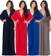 Womens Long Sexy Kimono 3/4  Sleeve Casual V-neck Evening Formal Chic Maxi Dress