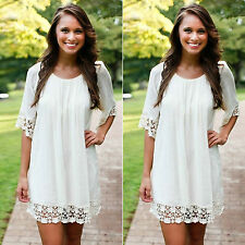 Crochet Flower Womens Loose Chiffon Half Sleeve Mini Dress Beach Tunic Sundress