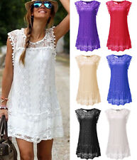 Womens Summer Sleeveless Lace Crochet Shift Blouse Summer Party Short Mini Dress