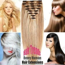 Thick Deluxe Double Weft Clip In Remy Human Hair Extensions Full Head 200g LD442