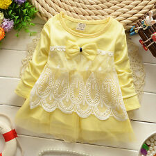 Newborn Baby Clothing Toddler Girl Cotton Dresses Infant Girl Solid Dress W Lace